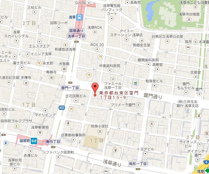 タイガー餃子会館 浅草店 地図